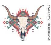 raster illustration of bull... | Shutterstock . vector #713744917