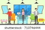 furniture store interior.... | Shutterstock . vector #713746444