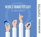 world diabetes day awareness... | Shutterstock .eps vector #713747701