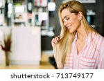 portrait of cheerful young... | Shutterstock . vector #713749177