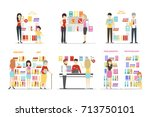 book store interior set... | Shutterstock . vector #713750101
