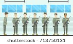 army training camp. soldiers at ... | Shutterstock . vector #713750131