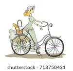 pretty retro fashioned girl... | Shutterstock .eps vector #713750431