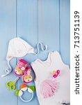 newborn accessories for a baby... | Shutterstock . vector #713751139