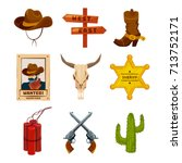 wild west collection icons.... | Shutterstock .eps vector #713752171