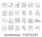 linear symbols of lawyer ... | Shutterstock .eps vector #713752195