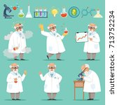 scientist or chemist at his... | Shutterstock .eps vector #713752234