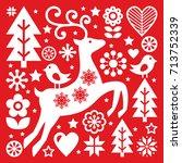 christmas white scandinavian... | Shutterstock .eps vector #713752339