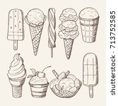 different ice creams with... | Shutterstock .eps vector #713752585