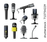 recorder  microphone and... | Shutterstock .eps vector #713754229