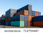 dozens of metal containers... | Shutterstock . vector #713754487