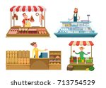 local markets. fresh farm foods ... | Shutterstock .eps vector #713754529