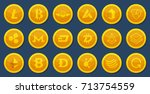 different coins of crypto... | Shutterstock .eps vector #713754559