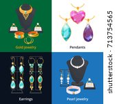 jewelry shop with different... | Shutterstock .eps vector #713754565