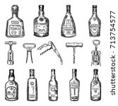 illustrations of corkscrew and... | Shutterstock .eps vector #713754577