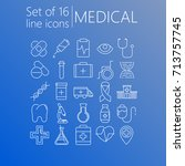 vector set of 16 line icons of... | Shutterstock .eps vector #713757745