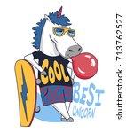 cool unicorn skateboarder.... | Shutterstock .eps vector #713762527
