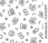 phone seamless pattern. tiling... | Shutterstock .eps vector #713763397
