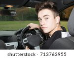 Learner Driver in his car - stock photo
