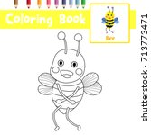 coloring page of standing bee... | Shutterstock .eps vector #713773471