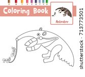 coloring page of anteater... | Shutterstock .eps vector #713773501