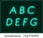 neon italic font type alphabet. ... | Shutterstock . vector #713774995