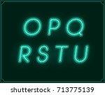 neon italic font type alphabet. ... | Shutterstock . vector #713775139