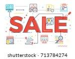 sale word lettering...   Shutterstock .eps vector #713784274