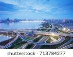shanghai interchange overpass...   Shutterstock . vector #713784277