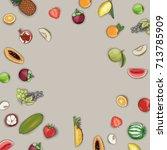 vector hand drawn fruit frame... | Shutterstock .eps vector #713785909