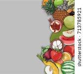 vector hand drawn fruit frame... | Shutterstock .eps vector #713785921