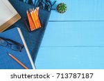 top view book and pencil note... | Shutterstock . vector #713787187