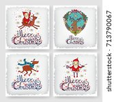 christmas greeting card set.... | Shutterstock .eps vector #713790067