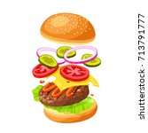 hamburger cooking. set of... | Shutterstock .eps vector #713791777