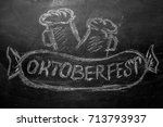 oktoberfest lettering and a... | Shutterstock . vector #713793937