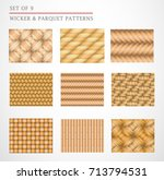 a set of 9 wicker and parquet... | Shutterstock .eps vector #713794531