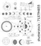 sciense moon phases scheme ... | Shutterstock .eps vector #713794855