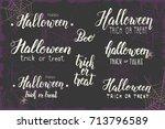 halloween holiday lettering set....   Shutterstock .eps vector #713796589