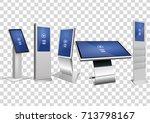 five white promotional...   Shutterstock .eps vector #713798167