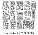 vector set of different tiki... | Shutterstock .eps vector #713800309