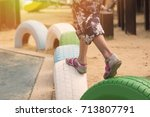 close up kid step on the... | Shutterstock . vector #713807791