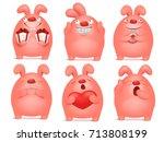 set of pink bunny cartoon... | Shutterstock .eps vector #713808199