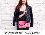 fashion smiling woman model...   Shutterstock . vector #713812984
