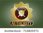 gold shiny emblem with swords... | Shutterstock .eps vector #713820571