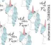 magic cute unicorn. vector... | Shutterstock .eps vector #713830561