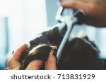hairdresser working | Shutterstock . vector #713831929