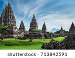 ancient stone ruins on green... | Shutterstock . vector #713842591