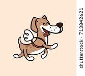 happy dog flies on the wings ...   Shutterstock .eps vector #713842621