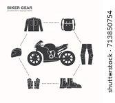 biker gear icon  protection... | Shutterstock .eps vector #713850754