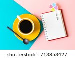 pastel office desk with open... | Shutterstock . vector #713853427